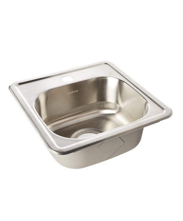 ZUHNE Drop-In Bar Prep RV Small Sink Stainless Steel (15 by 15 Single Bowl)