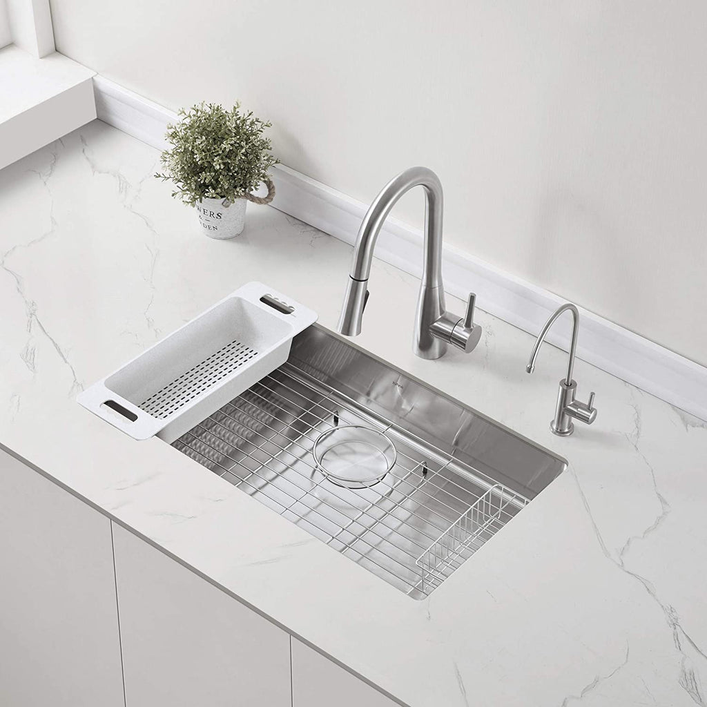 "ZUHNE Modena 30-Inch ADA Undermount Kitchen Sink with Accessories, 16 Gauge (5.5"" Shallow Single Bowl for 33"" Cabinet)"