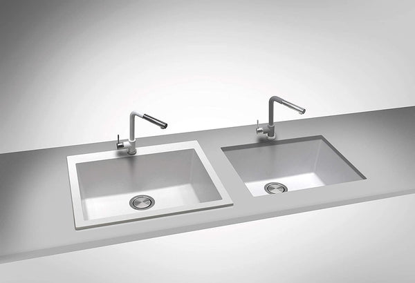 ZUHNE Pure White Under Mount or Drop-In Single Kitchen Sink With Drain Strainer, Made in Italy (16x20)…