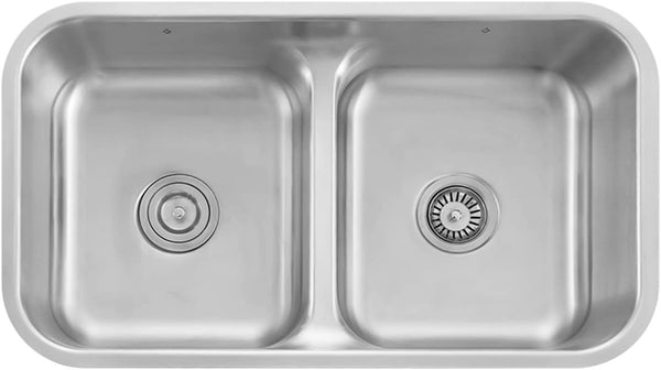 Z Series Stainless Steel Double Bowl Undermount Kitchen Sink With Strainers