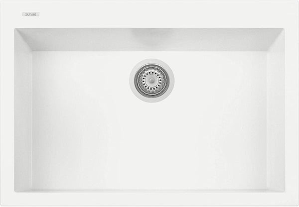 ZUHNE Pure White Under Mount or Drop-In Single Kitchen Sink With Drain Strainer, Made in Italy