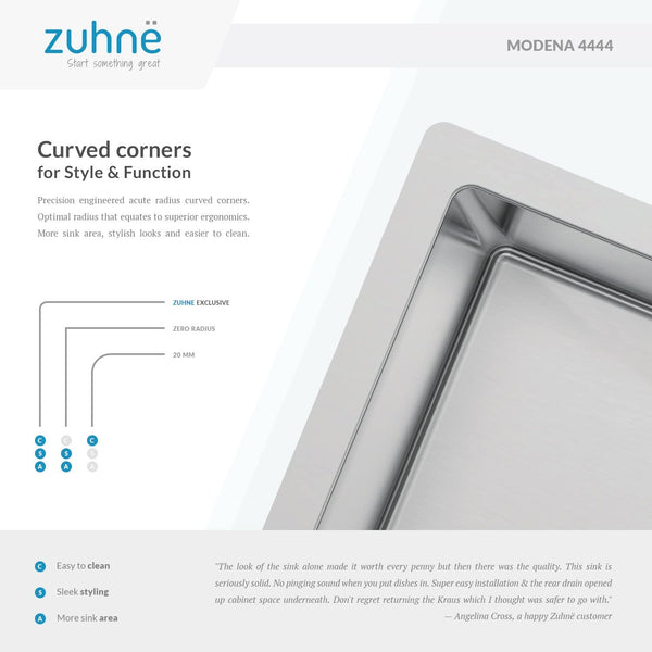 Zuhne 440 x 440 mm Stainless Steel Single Bowl Kitchen Sink for Flush, Inset or Under Mount Installation