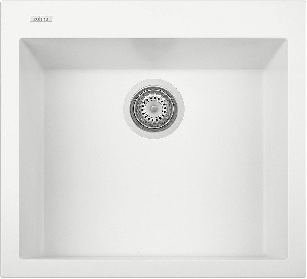 ZUHNE Pure White Under Mount or Drop-In Single Kitchen Sink With Drain Strainer, Made in Italy (22x20)