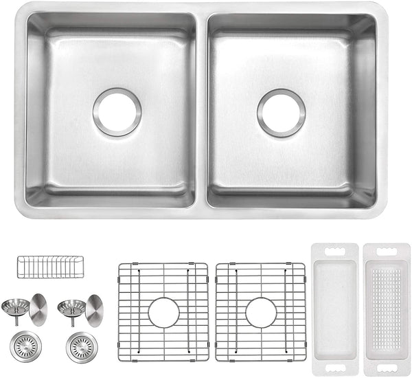"ZUHNE Verona Double Bowl Kitchen Sink Stainless Steel 16 Gauge (32"" by 19"" Undermount)"