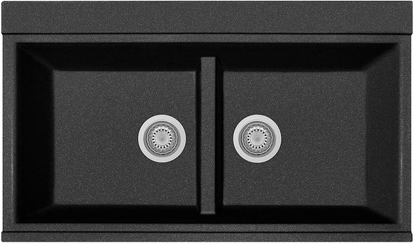 Zuhne Black Granite Single Double Bowl Dual Mount Kitchen Sink with Strainer and Mounting Brackets for Under Mount/Top Mount or Drop In - Made in Italy
