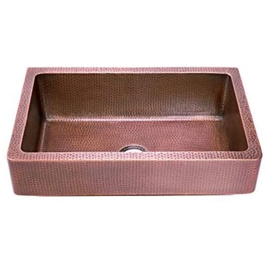 ZUHNE Bari 33 Inch Copper Farm House Short Straight Apron Single Bowl Retrofit Kitchen sink, Antique Natural