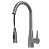 ZUHNE Ava Solid Stainless Lead Free High Arc Pull Out Dual Function Single Lever Sprayer Kitchen Mixer Faucet with Deck Plate
