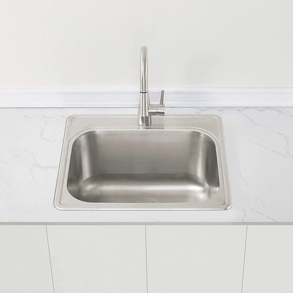 "ZUHNE 25"" by 22"" Drop-In Utility Sink for Laundry Room with Drain Strainer (12"" Extra Deep Basin)"