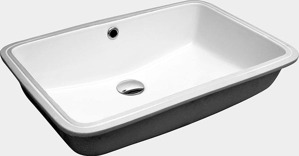 "ZUHNE Undermount Bathroom Sink with Overflow, White Vitreous Enamel (Rectangle 20"" by 13"" Bowl)"