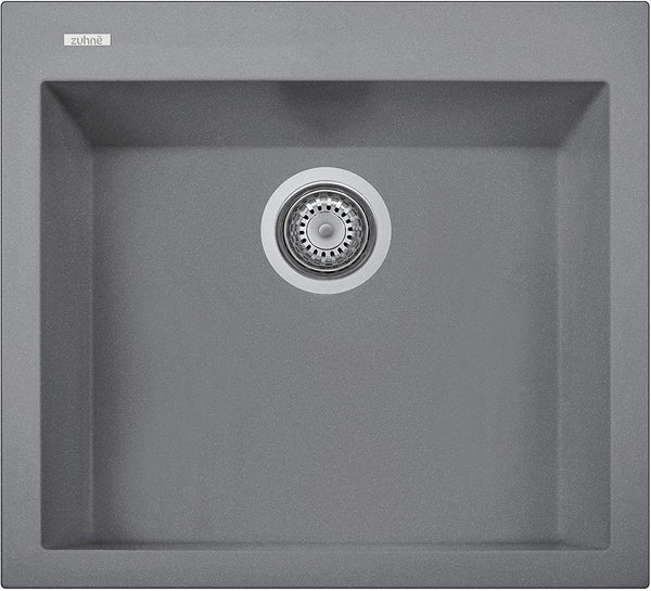 ZUHNE Gray Granite Under Mount or Drop-In Single Kitchen Sink With Drain Strainer, Made in Italy (22x20)