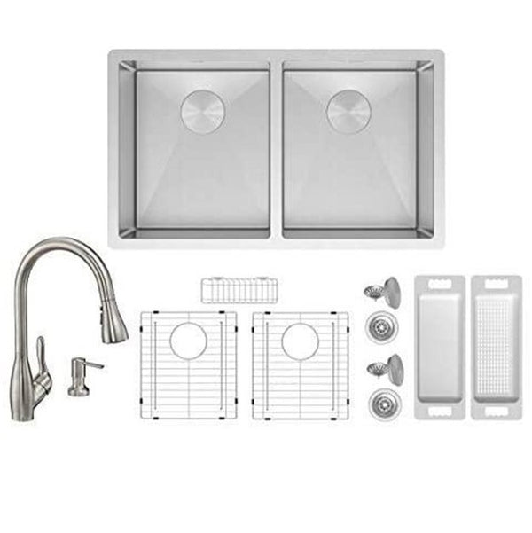 ZUHNE Genoa 32 Inch 16G Stainless 50/50 Double Bowl Under Mount Sink W. Grate Protector, Caddy, Colander, Strainer and Wica Pull Out Kitchen Faucet + Through Counter Soap Dispenser Set
