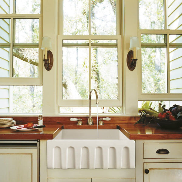 "ZUHNE Ostia White Farmhouse Single Bowl Fireclay Kitchen Sink (24"" Reversible Apron)"