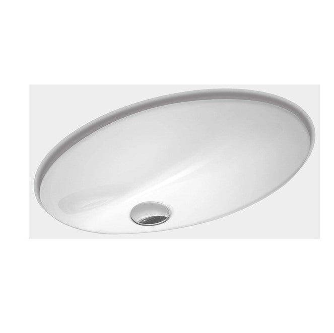 "ZUHNE Undermount Bathroom Sink with Overflow, White Vitreous Enamel (Oval 17"" by 12"" Bowl)"