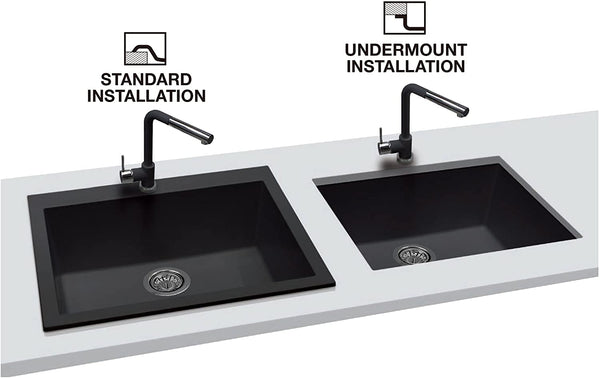 "ZUHNE Black Drop-In or Undermount Bar Prep RV Granite Kitchen Sink (16"" by 20"" Single Bowl)"