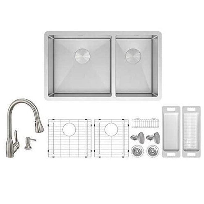 ZUHNE Roma 32 Inch 16G Stainless 60/40 Double Bowl Under Mount Sink W. Grate Protector, Caddy, Colander, Strainer and Wica Pull Out Kitchen Faucet + Through Counter Soap Dispenser Set
