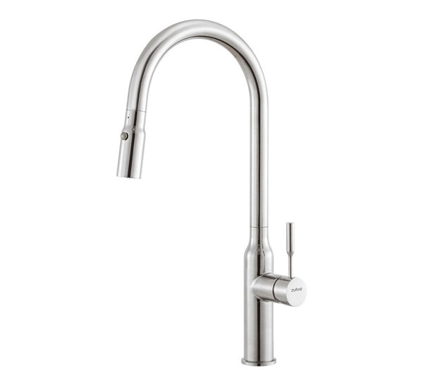ZUHNE Stainless High Arc Pull Out Dual Function Single Lever Sprayer Kitchen Mixer Faucet with Deck Plate (Model Torre)