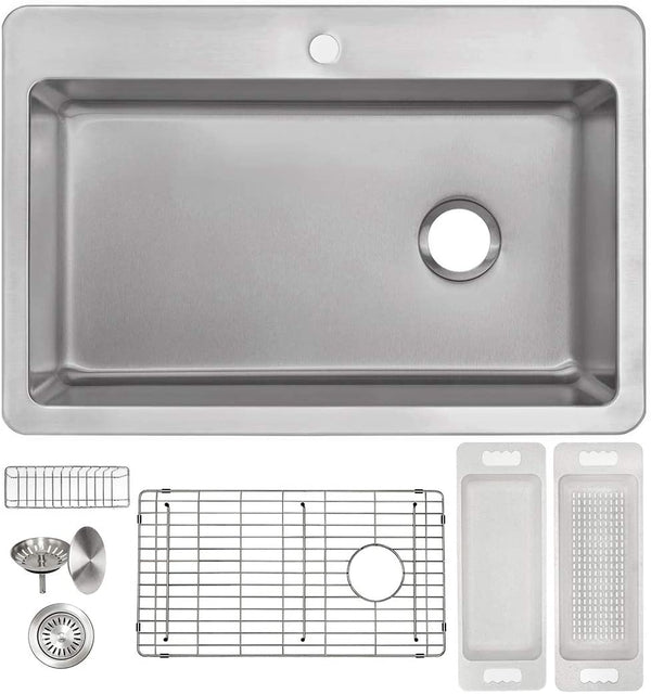"Zuhne Offset Drain Kitchen Sink 16 Gauge Stainless Steel (25"" by 22"" Drop-In Top Mount)"