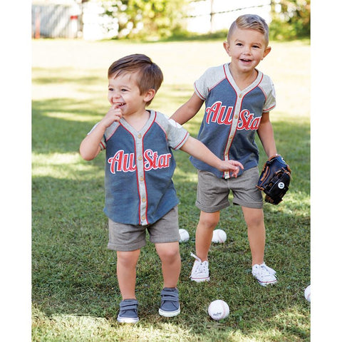 Mud Pie boys all star button down jersey