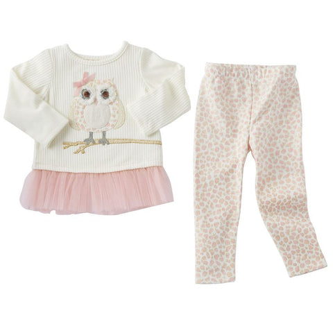 Mud Pie Spotted owl tunic and leggin set
