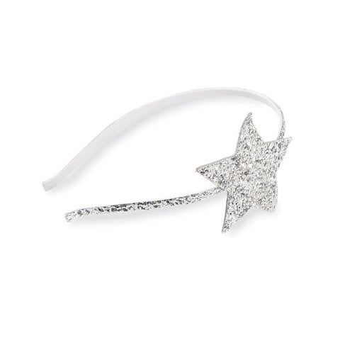 Mud Pie Glitter star headband silver