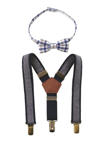 Mud Pie Chambray bow tie and suspender set