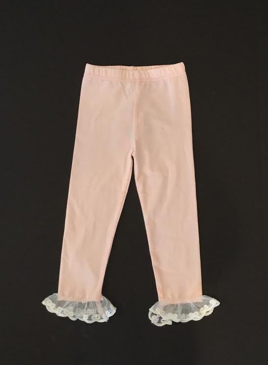 MLK fashions Pink Leggings with lace detail - Cache For Kids