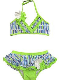 Isobella and Chloe Lime Bikini