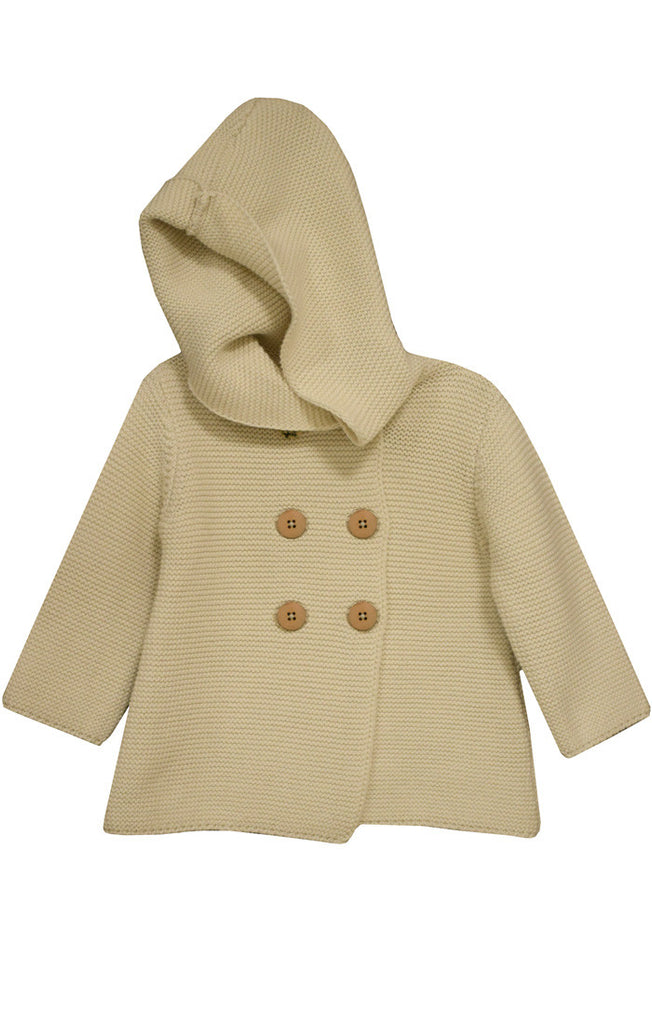 Ivory Knit Hoodie - Cache For Kids