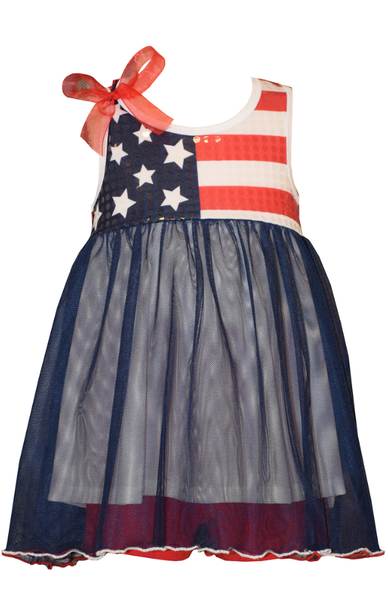 Bonnie Jean Sparkle Flag Dress Infant - Cache For Kids