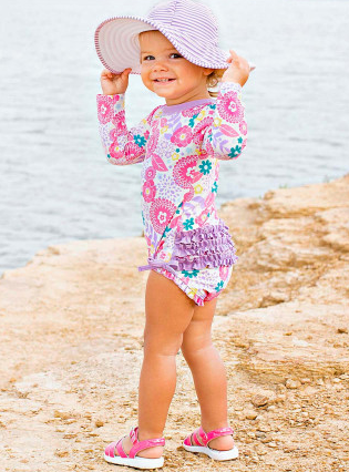 Ruffle Butts Blooming Buttercup One Piece Rash Guard
