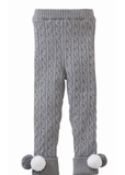 Mud Pie cable knit pom pom gray