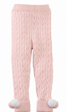 Mud Pie Cable knit pom pom legging pink
