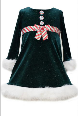 Bonnie Jean velvet dress with peppermint details