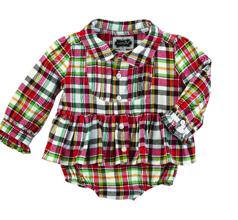 Mud Pie tartan plaid onsie with skirt detail