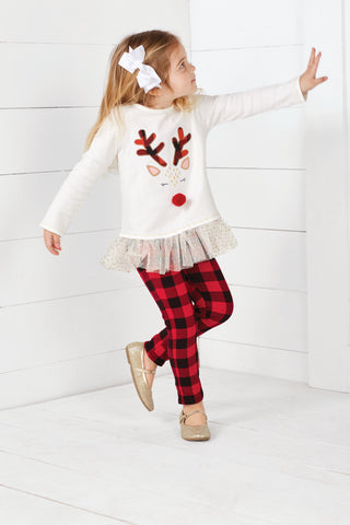 Mud Pie Alpine reindeer tunic and legging set