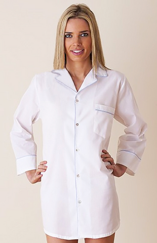 Ginny Long Sleeve Nightshirt Blue Piping