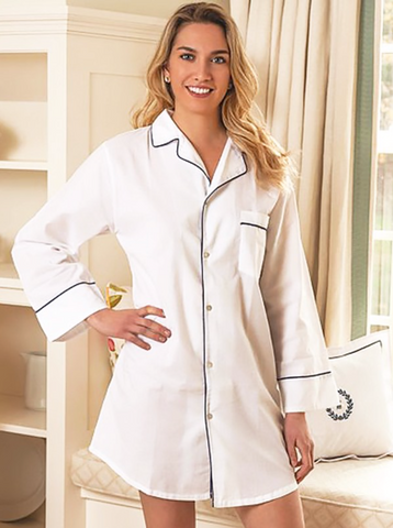 Ally Nightshirt - Navy Piping