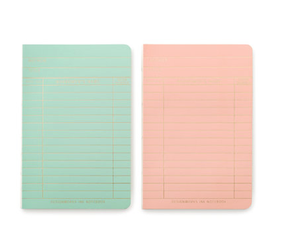 2-Pack Library Cards Notebooks