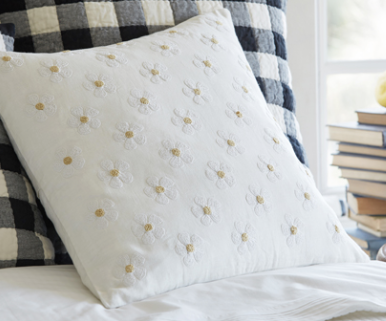 Daisy Chain Embroidered Pillow