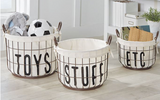 Printed Canvas Wire Toy Basket Set