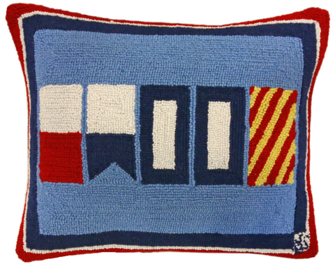 "Signals Flag ""HAPPY"" Wool Hooked Pillow - 16""x20"""