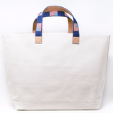 Embroidered Leather Handle Tote Bag