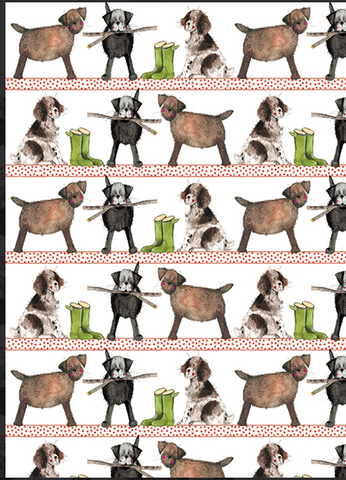 Country Dog Gift Wrap with Tags
