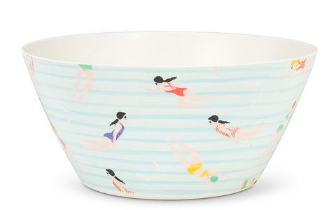 Large Round Swimmer Print Bowl