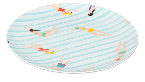 Set of 4 - Large Swimmer Print Dinner Plate