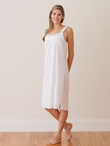 Seaside Embroidered Nightgown -  Strap Sleeve