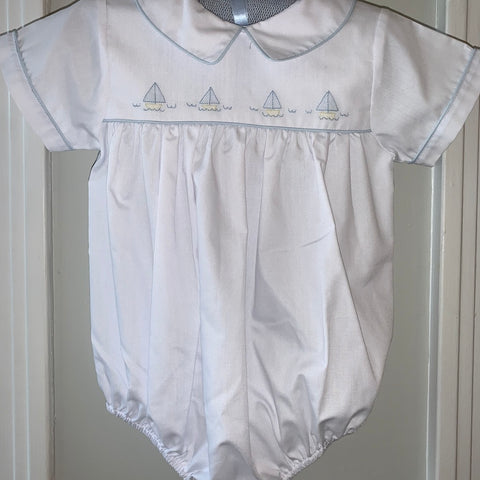 Boy Bubble White with Blue Embroidered Sailboats - 6 months