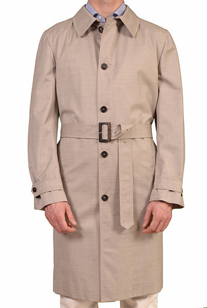BRIONI GRAY WOOL-SILK TRENCH COAT LORO PIANA STORM SYSTEM EU 50 NEW US 40 M