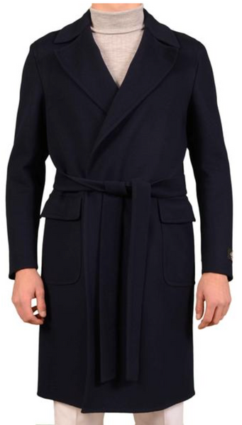 Navy Blue Cashmere Coat by Belvest