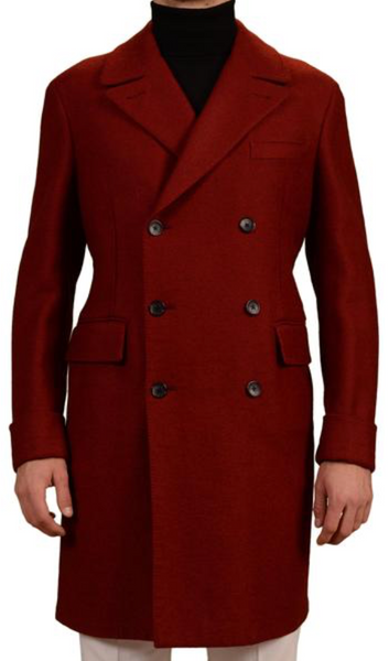 Red DB Polo Overcoat by Belvest